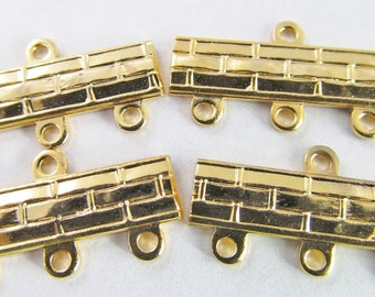 6 Vintage 22mm Gold Plated Brick Pattern Three-Strand  Brass Connectors Con116