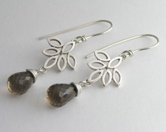 Dangle Lotus Earrings - Sterling Silver and Smoky Quartz - Flower Earrings - Drop Earrings - Leaf Earrings