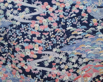 Vintage Kimono silk fabric  CHIRIMEN crepe, lovely blue floral pattern