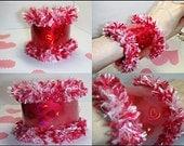 Christmasinjuly, Bracelet RED Hearts, Strawberries And Cream Window Bangle, Sweetheart Bracelet - Cuff Bracelet - Fiber Bracelet