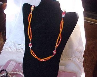 Vintage Orange Glass Beads Necklace