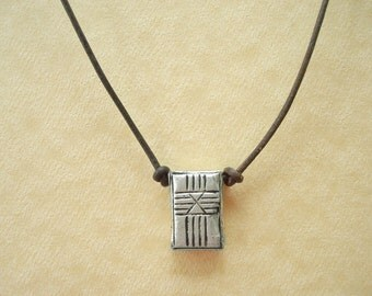Cross Design Pendant and Leather Necklace. Tibetan Silver and Leather Necklace