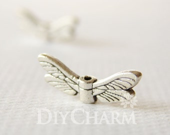Tibet Silver Tone Dragonfly Wings Beads 20x5mm - 20Pcs - AR16968