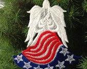 Flag Lace Angel, Patriotic Lace Angel, 4th of July Machine Embroidered Lace Angel