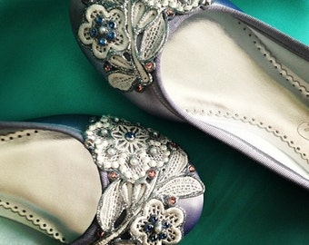 Dragonfly French Knot Lace Bridal Ballet Flats Wedding Shoes - All Full Sizes - Pick your own shoe color and crystal color
