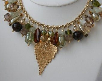 Ouray Glass Crystal Natural Stone Beaded Ladies Statement Piece Necklace Gold Tone Gold Plated Leaf Pendant and Earrings Handmade