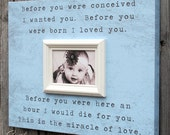 Custom Picture Frame Canvas With Miracle Of Love Quote,  Baby Boy or Girl Nursery Picture Frame, Canvas Wall Art