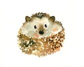 HEDGEHOG 7x5inch Print -Kid's Wall Art -Nursery decor- Playroom Decor-Nursery wall art