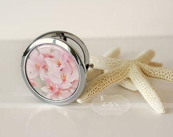 "Photo Mirror Compact- ""Curlie Cues"", Pink and Orange Flowers Photograph, 3"" Double Sided Mirror- Engravable Gift Item"