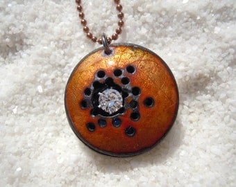 Enamel Jewelry, Enamel Necklace, Rustic Earthy Organic Jewelry, gunmetal chain included