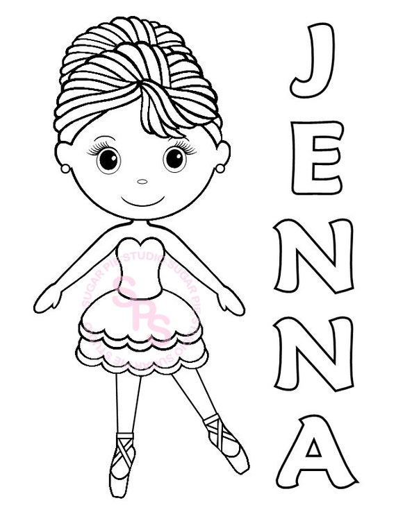 Ballerina Dance Birthday Party Favor Childrens Kids Coloring Page