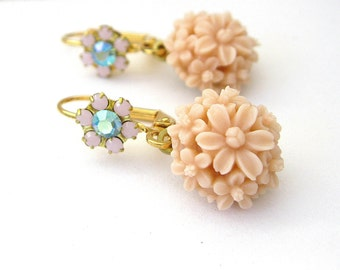 Palest pink and aqua flower Earrings Drop Dangle Earrings Handmde Jewelry Crystal Flower earrings Aqua & Rosewater Opal Handmade earrings