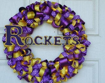 Purple and Gold Ribbon Wreath - ribbon wreath door decor housewares home decor team wreath