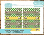 INSTANT DOWNLOAD Vintage Tractor Bash Straw Flags or Food Flags