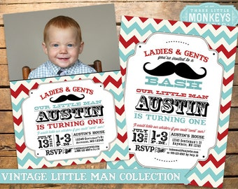 Vintage Little Man Mustache Birthday Party Pack