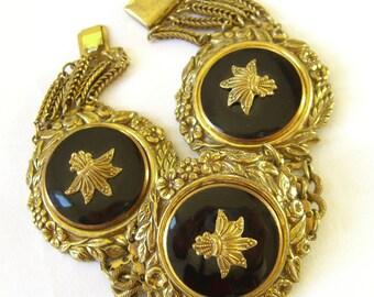 Art Nouveau Bracelet. Gilt Metal and Glass, Antique Estate Jewelry