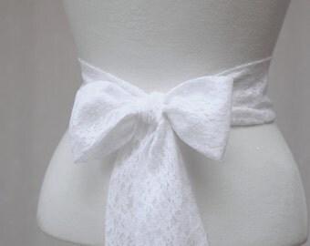 White Lace Wedding Simple Sash/ Flower girl Sash/ Handmade Accessory