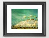 Circus. 8x10 Carnival Photograph. fair, whimsical, green, yellow, lights, home decor. bokeh, mint, green, turquoise