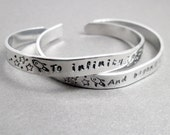 Friendship Bracelets SET OF TWO - To Infinity and Beyond -Hand Stamped Cuff in Aluminum, Golden Brass or Sterling Silver