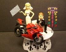 Motorcycle Got the Start Flag with Christamas Tree Start light Bike Bride & Groom Wedding Cake Topper Funny