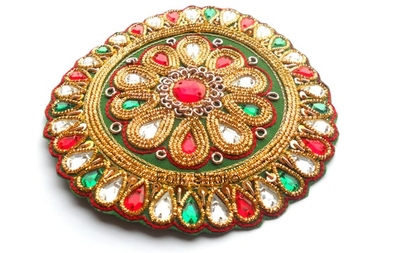 Rhinestone Applique Embroidery Applique Flower Spring Decor Hand made Indian Applique