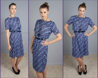 Vintage Dress, Purple, Blue, Puff Sleeve, Diagonal Abstract Print, 80s, Secretary Dress, Day Dress, Darian, S, M, Stretchy Waist