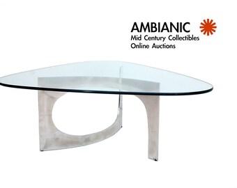 Mid Century Modern Aluminum Coffee Table Sculptural Shape Triangular Shape