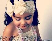 Baby Girl fancy  Cream -Ivory double ruffle bow ,lace headband, ,Baby Headbands.Girl Headbands.