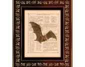 "Vampire Bat Vintage Illustration on Antique Book Page Art Print 8""x10"" by VerbumVintage"
