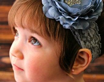 Gray Flower Girl Headband Baby Girl Headband Slate Blue Headband Gray Blue Flower Headband Wide Lace Headband Vintage Newborn Photo Prop