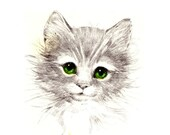 1 1/2 Fabric Cat Button - Front Page Kitten Green Eyed Gibson white black drawing Artist  for her