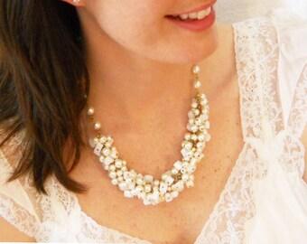 Destination Wedding Jewelry Beach Bridal Jewelry Chunky Beach Wedding Necklace Unique Bride Jewelry Beach Honeymoon Jewelry Chunky Pearls