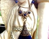 Luna Queen ...Beautiful Filigree Moon...Lapis Lazuli Spiritual Awareness...Blu Agate For Protection & Prosperity  Pendulum Necklace