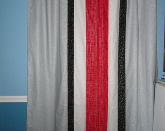 Red and Grey Stripes of Pride Curtains