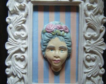 Polymer clay old woman 3d framed art, mixed media