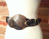 1980s Oversize Gold and Black Fashion Waist Belt, Madonna Belt Style Glam Rock