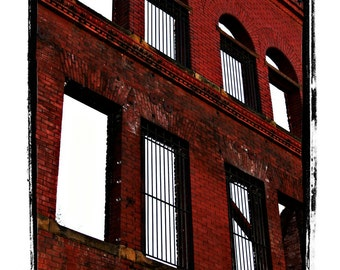 Standing Alone- Fine Art Print of a Red Brick Building Wall Facade