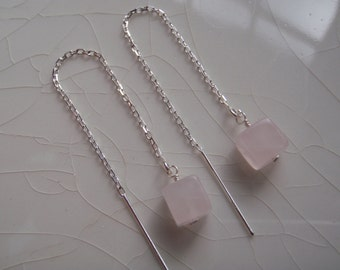 20% Off plus free shipping - Tiny Smooth Rose Quartz Cubes & Sterling Silver Threader/Ear Thread Dangle Earrings