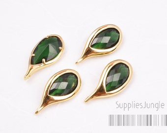 20% SALE// F107-G-EM// Gold Droplet Framed Emerald Faceted Glass Stone Pendant, 2 Pc