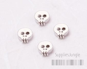 MB006-01-GR// Glossy Original Rhodium Plated Mini Skull Metal Beads, 2pcs