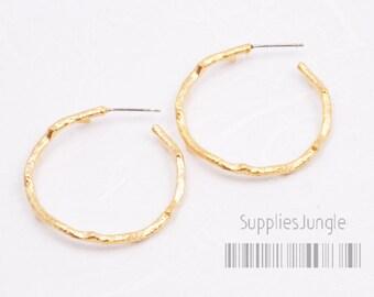 E161-MG// Matt Gold Plated Branch Circle Earring Post, 2pcs