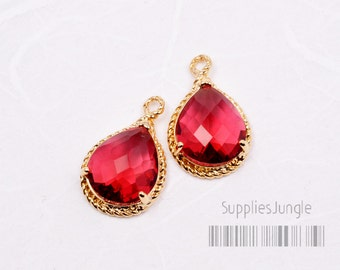 F115-G-RB// Ruby 16k Gold Plated Fancy Faceted Glass Teardrop Pendant, 2Pcs