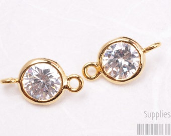 F113-03-G// Gold Plated 8mm Cubic Zirconia Round Pendant Connector, 4pcs
