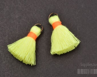 T002-CO-YO// Vivid Yellow, Neon Orange Light Blue Cotton Tassel Pendant, 4pcs, 23mm