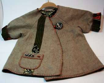 Truly one-of-a-kind African themed infant jacket- wool felt- buffalo bone buttons- beads-lizard button