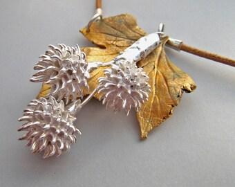 Eryngium seed head handmade silver and bronze metal clay necklace OOAK