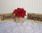 JUST MARRIED, Wedding table signs, head reception table decor, Bride and Groom signage