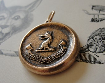Who Endures Conquers Wax Seal Pendant Wolf - antique wax seal jewelry charm with Latin motto in bronze by RQP Studio