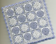 Dollhouse Miniature Afghan Bedspread Throw Lap Blanket Very Light Blue Violet  and White - READY TO SHIP