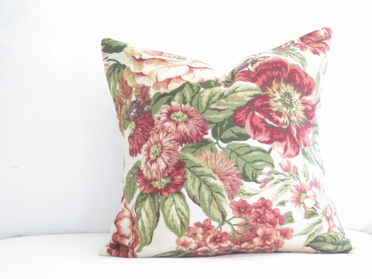 Decorative Pillows Flowers : 16x16 inch red floral decorative pillow floral by FineFreshDesign